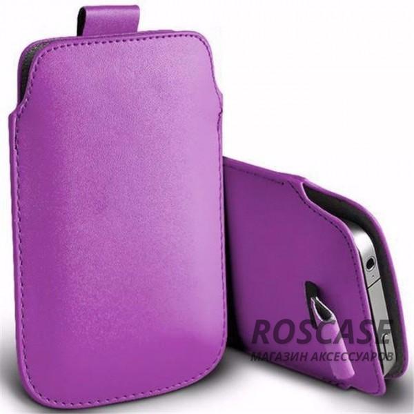 Кожаный чехол (футляр) для смартфона (140 x 75) (Сиреневый)Описание:производитель  -  Epik;совместимость: устройства с габаритами &amp;nbsp;140*75 мм;материал  -  искусственная кожа;форма  -  футляр.&amp;nbsp;Особенности:тонкий дизайн не увеличивает габариты;не скользит в руках;язычок для извлечения устройства;защищает от ударов и царапин;на нем не видны отпечатки пальцев;размер - &amp;nbsp;140 x 75 мм.<br><br>Тип: Чехол<br>Бренд: Epik<br>Материал: Искусственная кожа