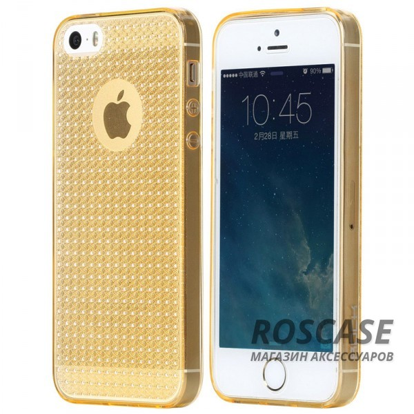 фото Золотой / Transparent Gold TPU чехол Rock Fla Series для Apple iPhone 5/5S/SE
