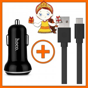 Комплект Компактное автомобильное зарядное устройство Hoco Z1 с 2 USB разъемами + Плоский кабель USB to Type-C (1,2 метра)