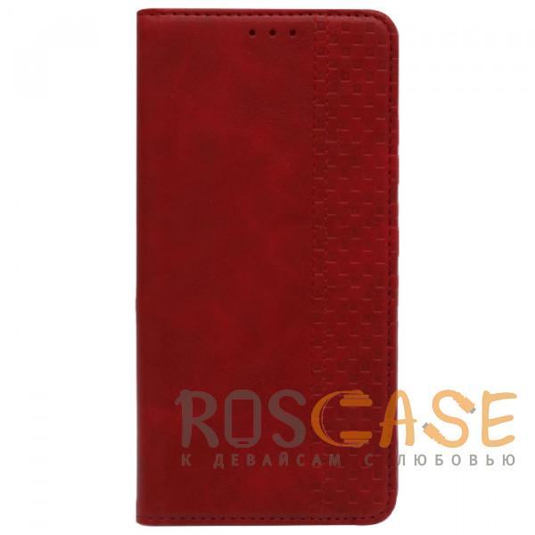 Фотография Красный Business Wallet   Кожаный чехол книжка с визитницей для Samsung Galaxy M31