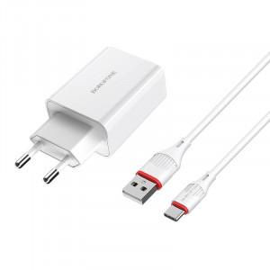 Сетевая быстрая зарядка Borofone BA21A (1USB / 3A) + кабель Type-C 1м для Apple iPhone 7