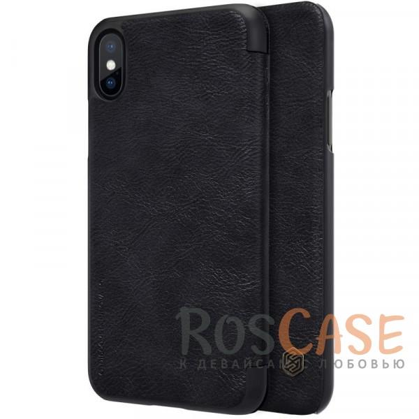 Чехол-книжка из натуральной кожи для Apple iPhone X (5.8) (Черный)Описание:бренд&amp;nbsp;Nillkin;разработан для Apple iPhone X (5.8);материалы: натуральная кожа, поликарбонат;защищает гаджет со всех сторон;на аксессуаре не заметны отпечатки пальцев;карман для визиток;предусмотрены все необходимые вырезы;тонкий дизайн не увеличивает габариты девайса;тип: чехол-книжка.<br><br>Тип: Чехол<br>Бренд: Nillkin<br>Материал: Натуральная кожа