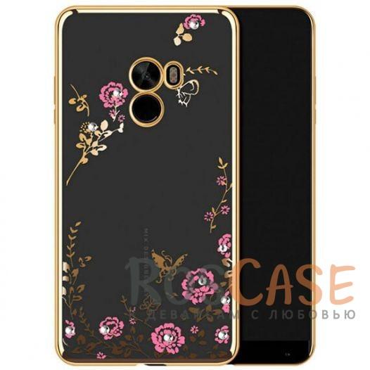 Прозрачный чехол с цветами и стразами для Xiaomi Mi MIX с глянцевым бампером (Золотой/Розовые цветы)Описание:совместим с Xiaomi Mi MIX;глянцевая окантовка, цветочный узор;материал - TPU;тип - накладка.<br><br>Тип: Чехол<br>Бренд: Epik<br>Материал: TPU
