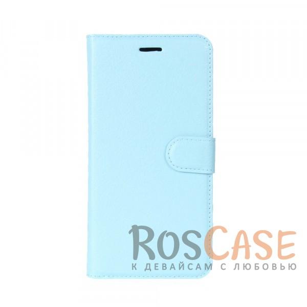 Гладкий кожаный чехол-бумажник на магнитной застежке с функцией подставки и внутренними карманами для Meizu M5c (Голубой)Описание:совместимость - Meizu M5c;материалы  -  искусственная кожа, TPU;форма  -  чехол-книжка;фактурная поверхность;предусмотрены все функциональные вырезы;кармашки для визиток/кредитных карт/купюр;магнитная застежка;защита от механических повреждений.<br><br>Тип: Чехол<br>Бренд: Epik<br>Материал: Искусственная кожа