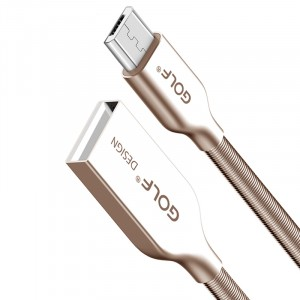 GOLF GC-36m | Дата-кабель MicroUSB в металлической пружинной оплетке (100см) для Apple iPad 2/3/4