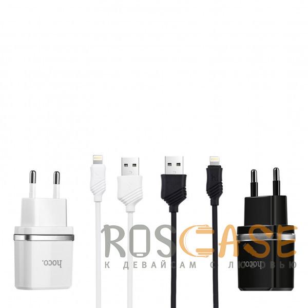 Фото HOCO C12   Сетевое зарядное устройство 2USB (2.1А) и кабелем Lightning