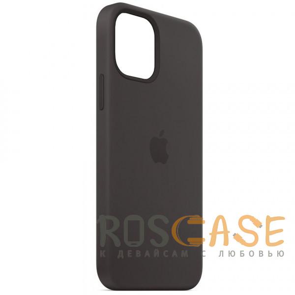Фотография Черный Силиконовый чехол Silicone Case с микрофиброй для iPhone 12 Pro Max