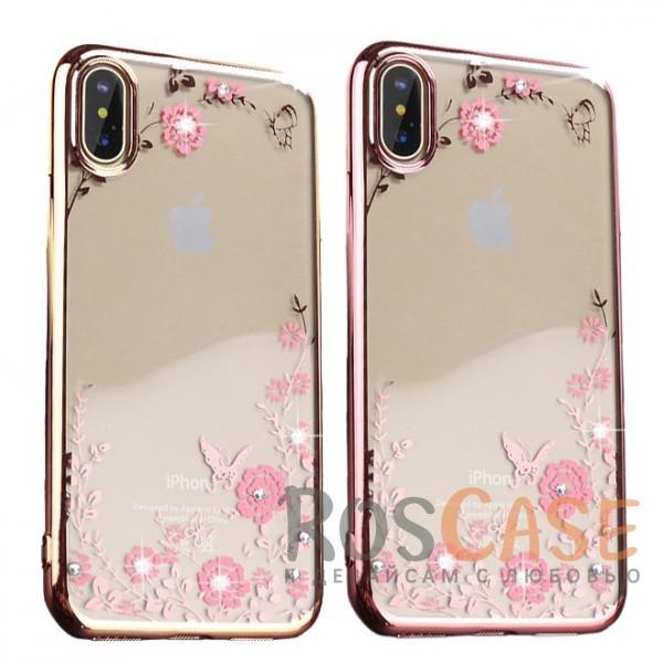 Прозрачный чехол со стразами для Apple iPhone X (5.8) с глянцевым бамперомОписание:совместимость - Apple iPhone X (5.8);глянцевая окантовка, цветочный узор;материал - TPU;тип - накладка;защита от царапин, трещин, ударов;легко устанавливается;не скользит в руках;не заметны отпечатки пальцев;все необходимые функциональные вырезы.<br><br>Тип: Чехол<br>Бренд: Epik<br>Материал: TPU