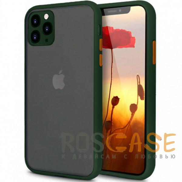 Фото Зеленый Противоударный матовый полупрозрачный чехол для iPhone 11 Pro с защитой камеры