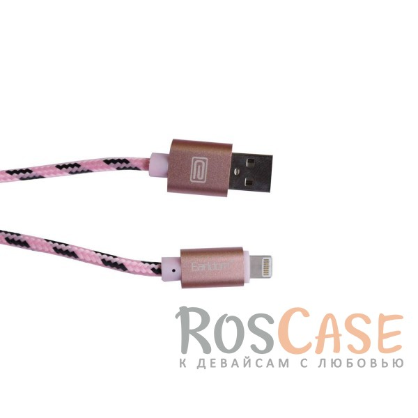 фото Розовый / Rose Gold Дата кабель lightning для Apple iPhone 5/5s/5c/SE/6/6 Plus/6s/6s Plus /7/7 Plus плетеный Earldom 1m