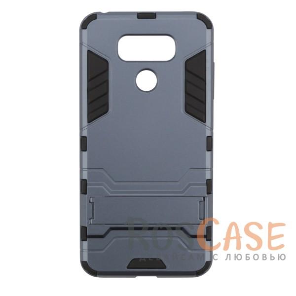 Ударопрочный чехол-подставка Transformer для LG G6 / G6 Plus H870 / H870DS с мощной защитой корпуса (Серый / Metal slate)