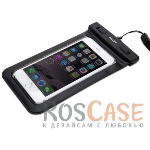 Водонепроницаемый чехол Rock (IPX8) (Черный / Black)Описание:производитель -&amp;nbsp;Rock;совместимость: смартфоны с диагональю до 6-ти дюймов;материал: поливинилхлорид,&amp;nbsp;мягкий пластик;тип: чехол;износостойкий;ультратонкий;защита от влаги;погружение от 1,5 до 30-ти метров;максимальное время погружения - 30 минут;размеры чехла: 18*10 см.<br><br>Тип: Чехол<br>Бренд: ROCK<br>Материал: Натуральная кожа