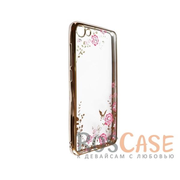 Фото Золотой / Розовые цветы Прозрачный чехол со стразами для Meizu U10 с глянцевым бампером