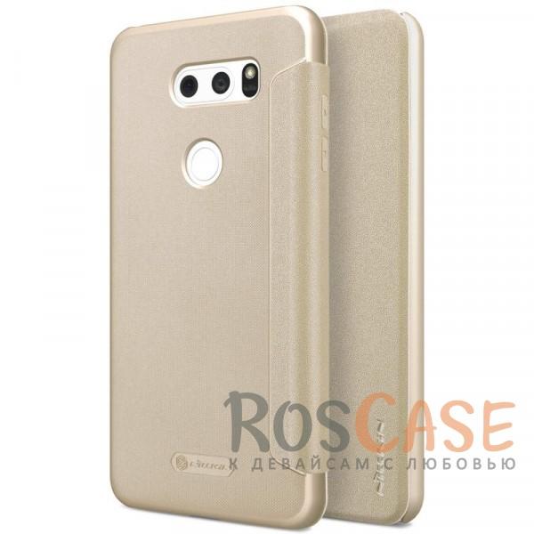 Кожаный чехол (книжка) Nillkin Sparkle для LG H930 / H930DS V30 / V30+ (Золотой)Описание:бренд&amp;nbsp;Nillkin;спроектирован для LG H930 / H930DS V30 / V30+;материалы: поликарбонат, искусственная кожа;блестящая поверхность;не скользит в руках;предусмотрены все необходимые вырезы;защита со всех сторон;тип: чехол-книжка.<br><br>Тип: Чехол<br>Бренд: Nillkin<br>Материал: Искусственная кожа