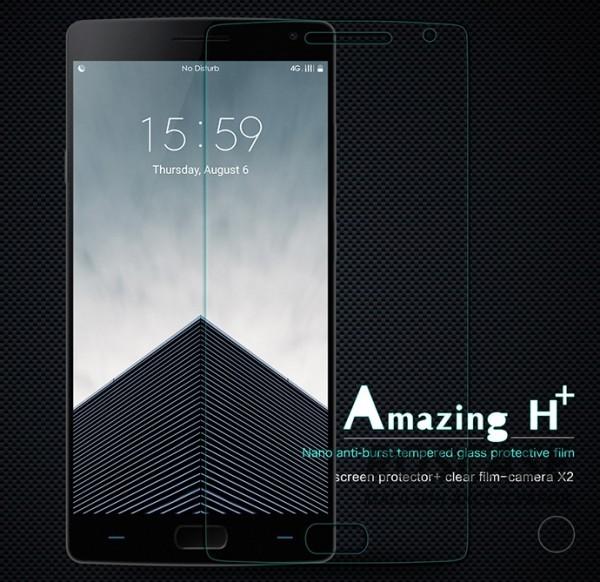 Защитное стекло Nillkin Anti-Explosion Glass Screen (H+) (закругл. края) для OnePlus 2Описание:компания&amp;nbsp;Nillkin;создано для OnePlus 2;материал: закаленное стекло;тип: стекло с закругленными краями.&amp;nbsp;Особенности:повторяет форму экрана;тонкое и прозрачное;покрытие анти-блик;закругленные края;твердость - 9H;толщина - &amp;nbsp;0,3 мм;защита от ударов и царапин;олеофобное покрытие;в комплекте пленка на камеру.<br><br>Тип: Защитное стекло<br>Бренд: Nillkin