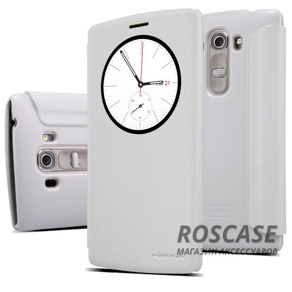 Кожаный чехол (книжка) Nillkin Sparkle Series для LG H734/H736 G4s Dual (Белый)Описание:бренд -&amp;nbsp;Nillkin;совместим с LG H734/H736 G4s Dual;материал - кожзам;тип: книжка.&amp;nbsp;Особенности:функция Sleep mode;окошко в обложке;блестящая поверхность;защита со всех сторон.<br><br>Тип: Чехол<br>Бренд: Nillkin<br>Материал: Искусственная кожа