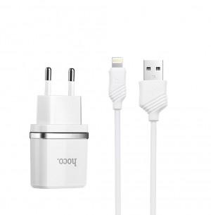 Сетевое зарядное устройство HOCO C11 1USB 1A + кабель Lightning для Samsung Galaxy S10 Plus