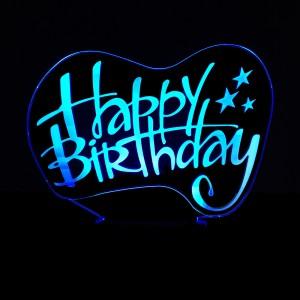 """Светодиодный 3D светильник-ночник с проекцией объемного изображения """"Happy Birthday"""""""