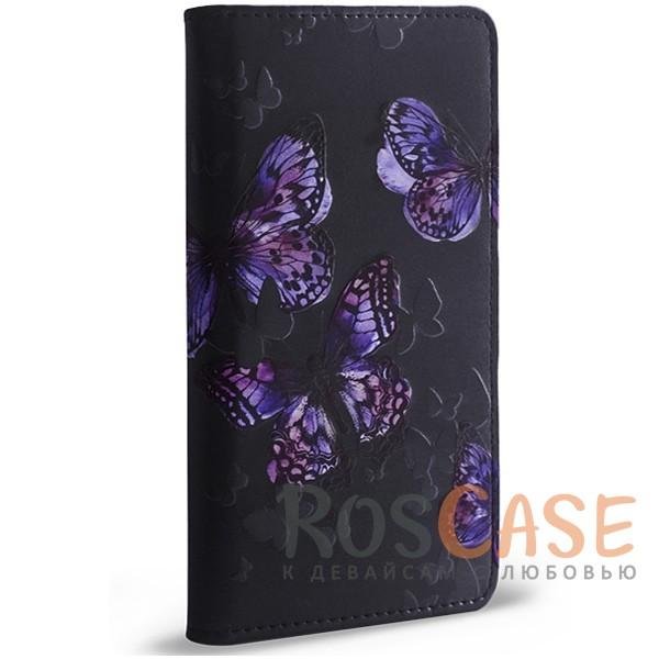 Универсальный чехол-книжка Gresso Бабочки для смартфона 3.5-4.5 дюйма (Черный)<br><br>Тип: Чехол<br>Бренд: Gresso<br>Материал: Искусственная кожа