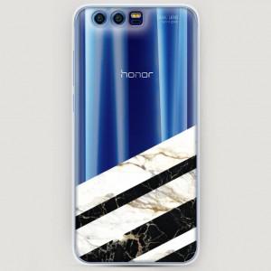 RosCase | Силиконовый чехол Черно-белый мрамор половинка на Huawei Honor 9
