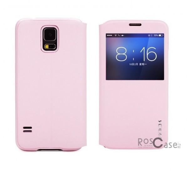 Кожаный чехол (книжка) Rock Uni Series для Samsung G900 Galaxy S5 (Розовый / Pink)Описание:производитель  -  Rock;совместим с Samsung G900 Galaxy S5;материалы  -  кожзам и микрофибра;форма  -  чехол-книжка.&amp;nbsp;Особенности:функция Sleep mode;функция Smart window;имеет все необходимые вырезы;легко очищается;не увеличивает габариты;защищает от ударов и царапин;морозоустойчивый.<br><br>Тип: Чехол<br>Бренд: ROCK<br>Материал: Искусственная кожа