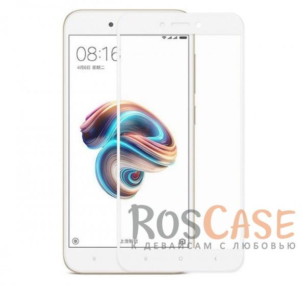 Тонкое олеофобное защитное стекло с цветной рамкой на весь экран для Xiaomi Redmi 5A (Белый)<br><br>Тип: Защитное стекло<br>Бренд: Mocolo
