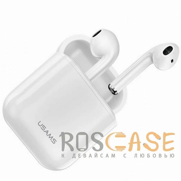 Фотография Белый USAMS-LU001 | Беспроводные наушники Bluetooth с микрофоном и кейсом подзарядкой (Док-станция)