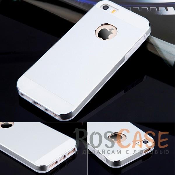 Ультратонкий TPU чехол c металлическими вставками YED для Apple iPhone 5/5S/SE (Серебряный)<br><br>Тип: Чехол<br>Бренд: Epik<br>Материал: TPU