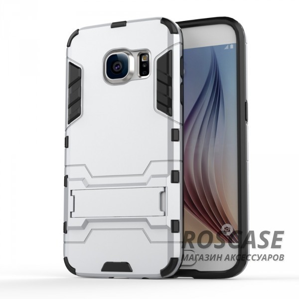 Ударопрочный чехол-подставка Transformer для Samsung G930F Galaxy S7 с мощной защитой корпуса (Серебряный / Satin Silver)Описание:подходит для Samsung G930F Galaxy S7;материалы: термополиуретан, поликарбонат;формат: накладка.&amp;nbsp;Особенности:функциональные вырезы;функция подставки;двойная степень защиты;защита от механических повреждений;не скользит в руках.<br><br>Тип: Чехол<br>Бренд: Epik<br>Материал: TPU