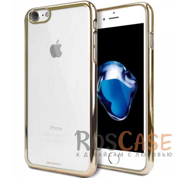 Прозрачный силиконовый чехол с блестящим бампером Mercury Ring 2 Jelly для Apple iPhone 7 / 8 (4.7) (Золотой)Описание:бренд&amp;nbsp;Mercury;разработан для Apple iPhone 7 / 8 (4.7);материал - термополиуретан;тип - накладка.&amp;nbsp;Особенности:прозрачный;ультратонкий;блестящая окантовка;защищает от царапин и ударов;не скользит в руках.<br><br>Тип: Чехол<br>Бренд: Mercury<br>Материал: TPU