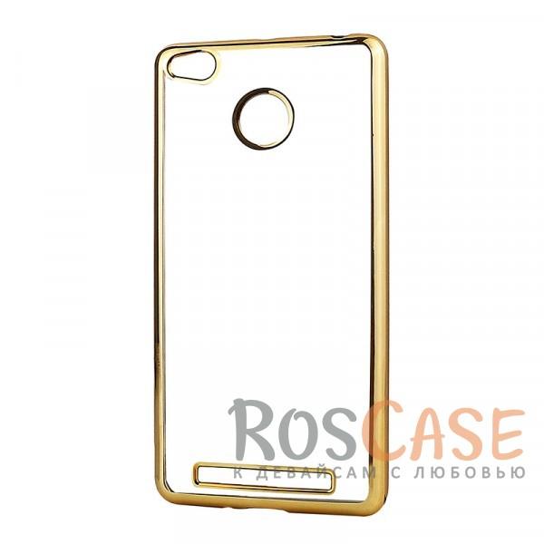 Прозрачный силиконовый чехол для Xiaomi Redmi 3 Pro / Redmi 3s с глянцевой окантовкой (Золотой)Описание:материал - силикон;совместим с Xiaomi Redmi 3 Pro / Redmi 3s&amp;nbsp;/ Redmi 3x;тип - накладка.Особенности:прозрачный;глянцевая окантовка;все вырезы предусмотрены;защищает от царапин и потертостей;тонкий дизайн;плотно облегает корпус.<br><br>Тип: Чехол<br>Бренд: Epik<br>Материал: TPU