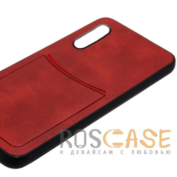 Фото Красный ILEVEL | Чехол с кожаным покрытием и с карманом-визитницей для Huawei P20