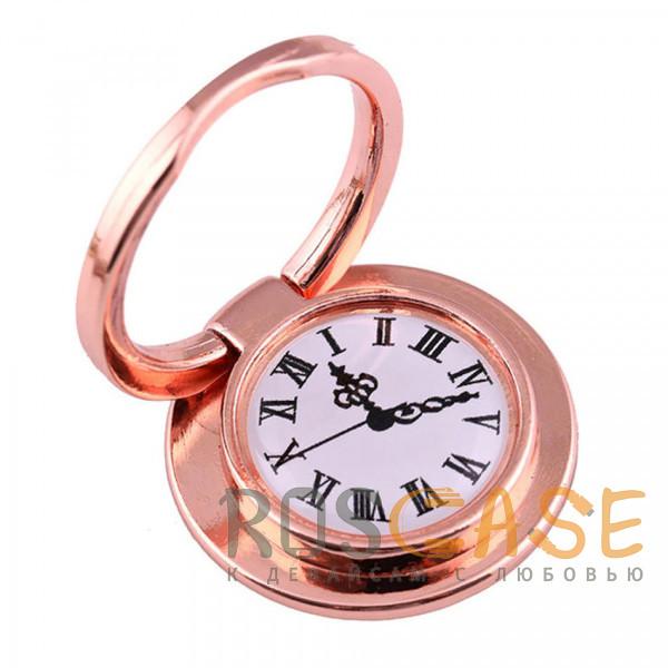 """Фото Розовый Универсальный магнитный держатель с кольцом для телефона """"Часы"""""""