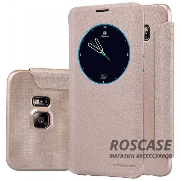 Кожаный чехол (книжка) Nillkin Sparkle Series для Samsung Galaxy S6 Edge Plus (Золотой)Описание:бренд -&amp;nbsp;Nillkin;совместим с Samsung Galaxy S6 Edge Plus;материал - кожзам;тип: книжка.&amp;nbsp;Особенности:функция Sleep mode;окошко в обложке;блестящая поверхность;защита со всех сторон.<br><br>Тип: Чехол<br>Бренд: Nillkin<br>Материал: Искусственная кожа