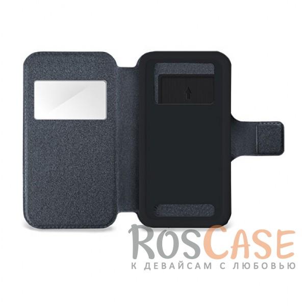 """Универсальный чехол-книжка с окошком и магнитом Gresso """"Норман"""" для смартфона 4.9-5.2 дюйма (Серый)"""