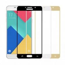 """Защитное стекло с цветной рамкой на весь экран с олеофобным покрытием """"анти-отпечатки""""  для Samsung Galaxy A5 2016 (A510F)"""
