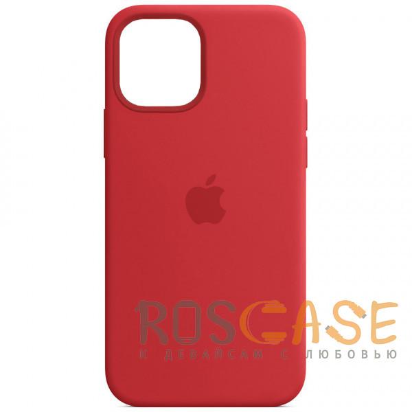 Фото Красный Силиконовый чехол Silicone Case с микрофиброй для iPhone 12 Pro Max