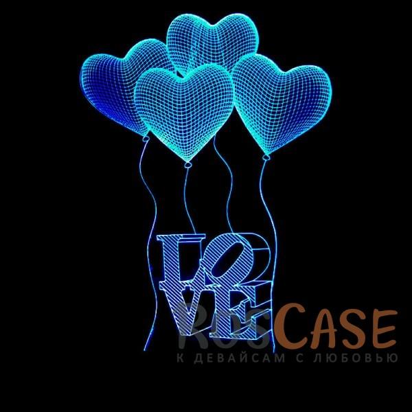 """Фото Светодиодный 3D светильник-ночник с проекцией объемного изображения """"Шарики LOVE"""""""
