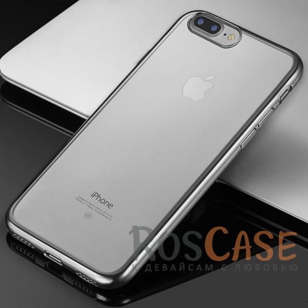 """Фотография Серый Силиконовый чехол для Apple iPhone 7 plus / 8 plus (5.5"""") с глянцевой окантовкой"""