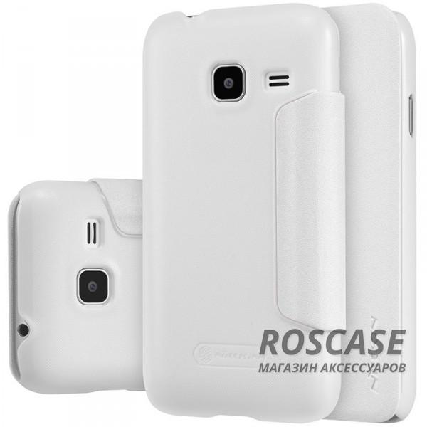 Кожаный чехол (книжка) Nillkin Sparkle Series для Samsung J105H Galaxy J1 Mini / Galaxy J1 Nxt (Белый)Описание:бренд&amp;nbsp;Nillkin;изготовлен специально для Samsung J105H Galaxy J1 Mini / Galaxy J1 Nxt;материал: искусственная кожа, поликарбонат;тип: чехол-книжка.Особенности:не скользит в руках;защита от механических повреждений;не выгорает;блестящая поверхность;надежная фиксация.<br><br>Тип: Чехол<br>Бренд: Nillkin<br>Материал: Искусственная кожа