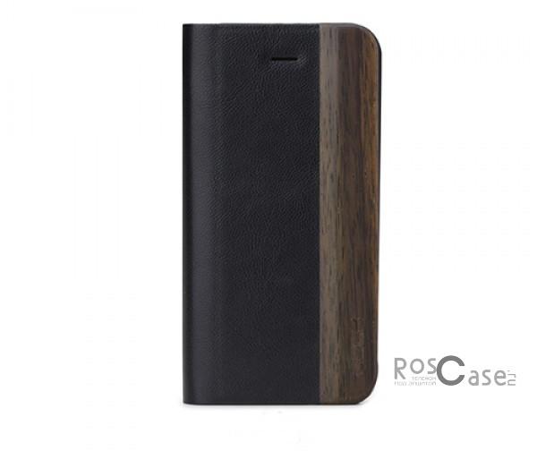 Изображение #Кожаный чехол (книжка) ROCK Woody Series для Apple iPhone 5/5S