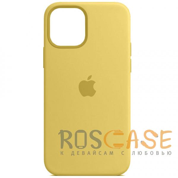Фото Желтый Силиконовый чехол Silicone Case с микрофиброй для iPhone 12 Pro Max