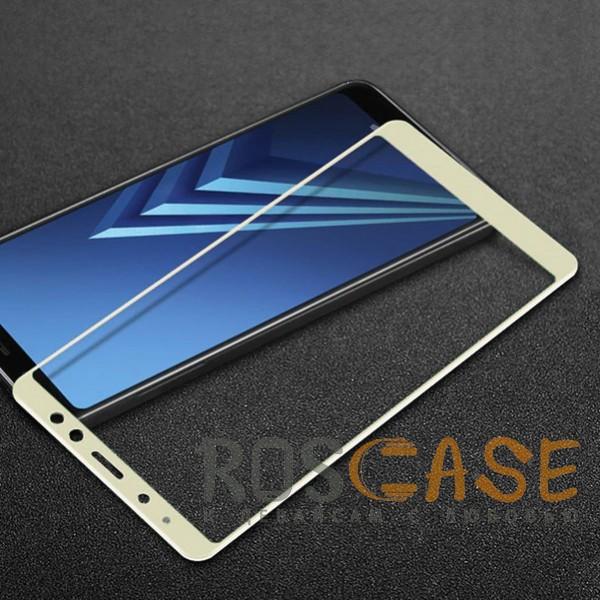 Фото Белое 5D защитное стекло для Samsung A530 Galaxy A8 (2018) на весь экран