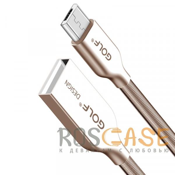 Дата-кабель в металлической пружинной оплетке GOLF (GC-36m) MicroUSB (100см) (Серебряный / Золотой)Описание:тип - дата-кабель;назначение&amp;nbsp;- синхронизация и передача данных, подзарядка;разъем&amp;nbsp;- USB / Micro USB;металлическая оплетка в виде пружины;длина кабеля&amp;nbsp;- 100 см.<br><br>Тип: USB кабель/адаптер<br>Бренд: Epik