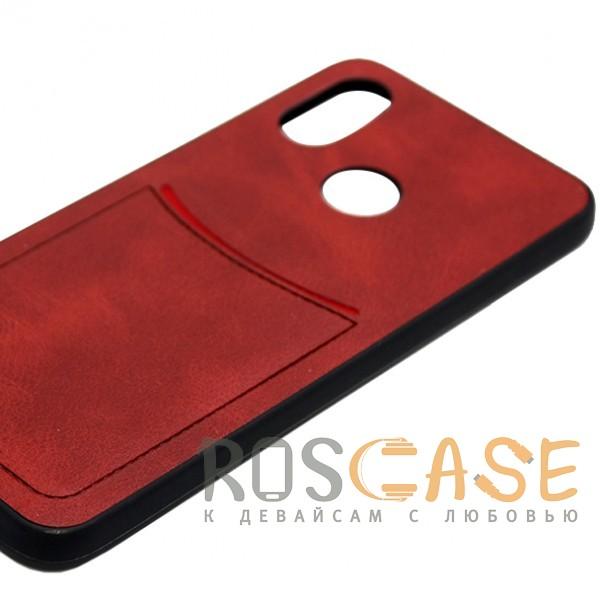 Фото Красный ILEVEL | Чехол с кожаным покрытием и с карманом-визитницей для Huawei Nova 3