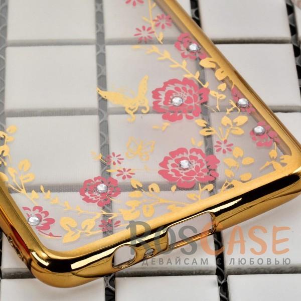 Фотография Золотой/Розовые цветы Прозрачный чехол со стразами для Samsung A730 Galaxy A8+ (2018) с глянцевым бампером
