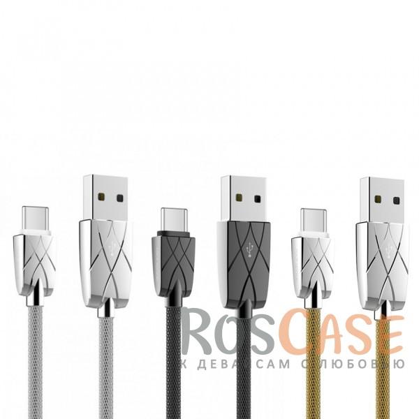 Кабель ROCK (Metal) USB to Type-CОписание:бренд&amp;nbsp;Rock;материал - металл;тип&amp;nbsp; - &amp;nbsp;дата кабель;совместимость: устройства с разъемом Type C.Особенности:гибкий и пластичный;прочная металлическая оплетка;длина&amp;nbsp;кабеля - 100 см;сила тока - 2 A;разъемы -&amp;nbsp;Type C, USB 2.0;высокая скорость передачи данных;совмещает три в одном: синхронизация данных, передача данных, зарядка;устойчив к воздействию низких температур.<br><br>Тип: USB кабель/адаптер<br>Бренд: ROCK