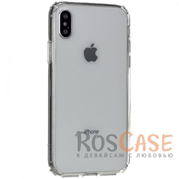 Ультратонкий пластиковый чехол-накладка с дополнительной защитой углов и кнопок для Apple iPhone X (5.8) (Бесцветный / Transparent)Описание:производитель -&amp;nbsp;Rock;материалы - поликарбонат, термополиуретан;совместимость - Apple iPhone X (5.8);прозрачная накладка;защищает заднюю панель и боковые стороны;специальный бортик для защиты камеры;предусмотрены все необходимые вырезы для использования устройства.<br><br>Тип: Чехол<br>Бренд: ROCK<br>Материал: Поликарбонат