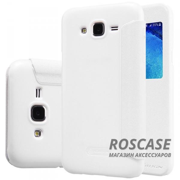 Кожаный чехол (книжка) Nillkin Sparkle Series для Samsung J700H Galaxy J7 (Белый)Описание:бренд -&amp;nbsp;Nillkin;совместим с Samsung J700H Galaxy J7;материал - кожзам;тип: книжка.&amp;nbsp;Особенности:тонкий дизайн;окошко в обложке;блестящая поверхность;защита со всех сторон.<br><br>Тип: Чехол<br>Бренд: Nillkin<br>Материал: Искусственная кожа