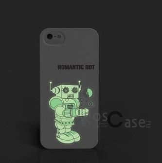 """Изображение Светящаяся накладка SleekOn """"Мальчик робот""""/ Romanticbot_M для Apple iPhone 5/5S/SE"""